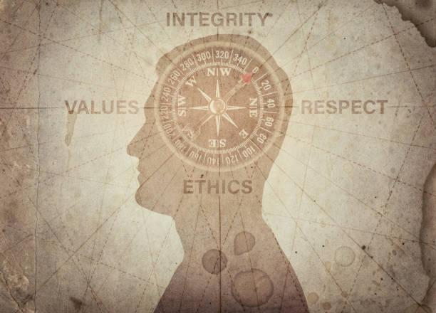 인간의 머리와 나침반 포인트 무결성, 가치, 윤리를 존중 합니다. 비즈니스, 신뢰, 심리학 등의 주제에 개념 - 도덕성 뉴스 사진 이미지