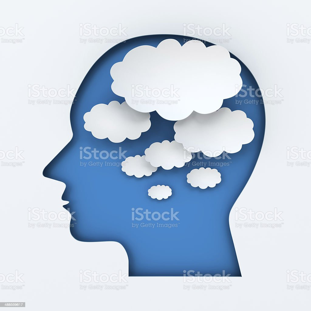 Human head and thought bubbles with copyspace, 3d render stock photo