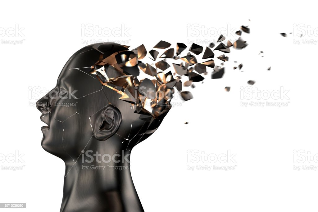 Human Head Breaks into Pieces stock photo