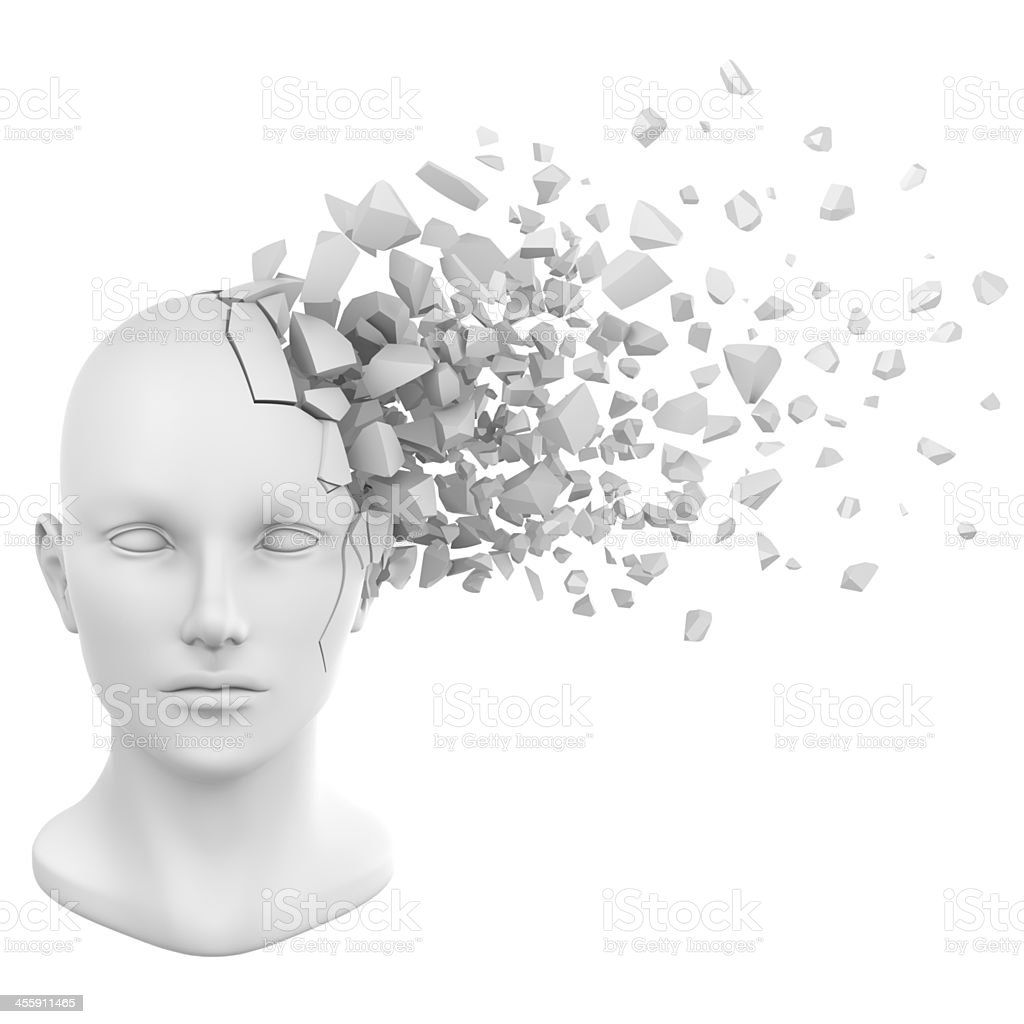 Human head bust shattering in white stock photo