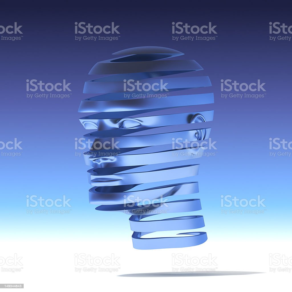 Human head helix slices stock photo