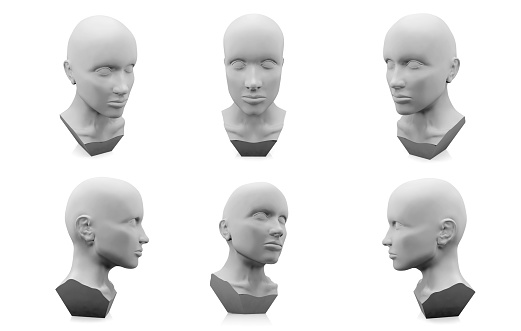3D human head mannequin on white background