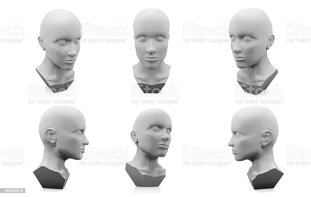 3D human head mannequin stock photo
