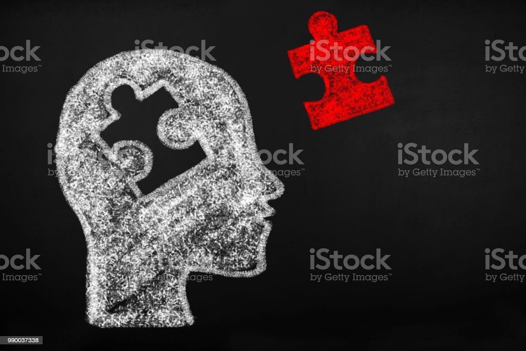 Human head of puzzle stock photo