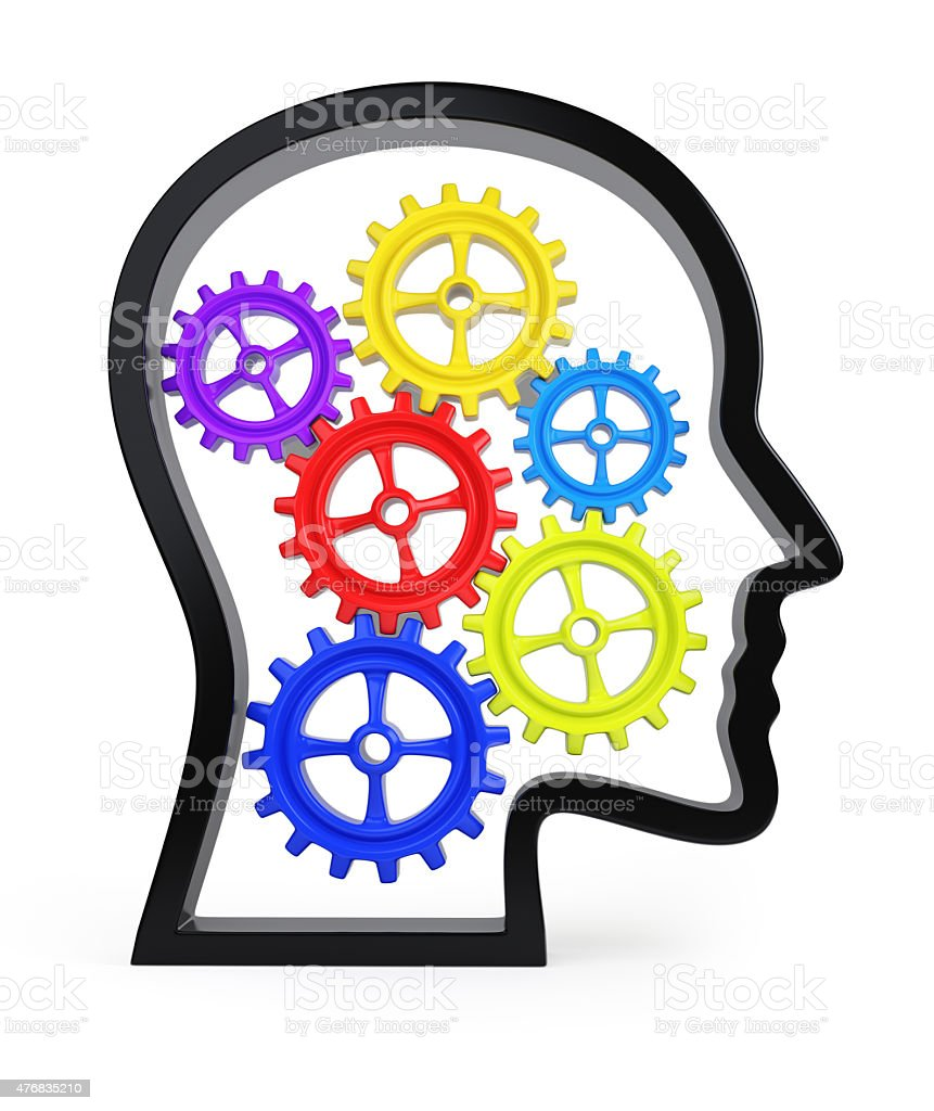 Human head profile with colorful gears stock photo