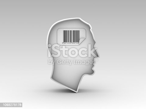 istock Human Head Shape with Bar Code Label - 3D Rendering 1093275178