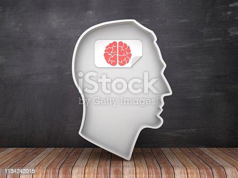 Human Head Shape with Brain Label on Chalkboard Background - 3D Rendering