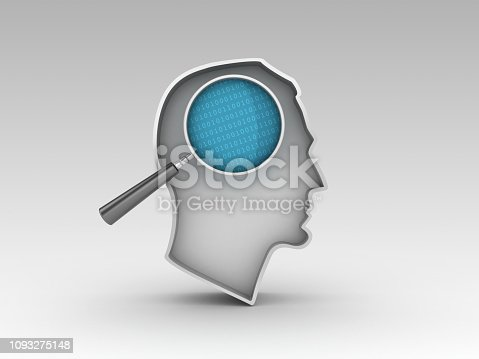 Human Head Shape with Magnifying Glass and Binary Code - Gray Background - 3D Rendering