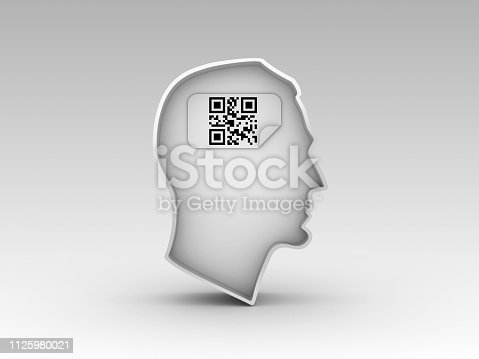 istock Human Head Shape with QR Code Label - 3D Rendering 1125980021