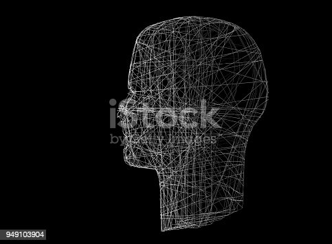 istock Human head. Wireframe model with connection lines on black, 3d illustration 949103904