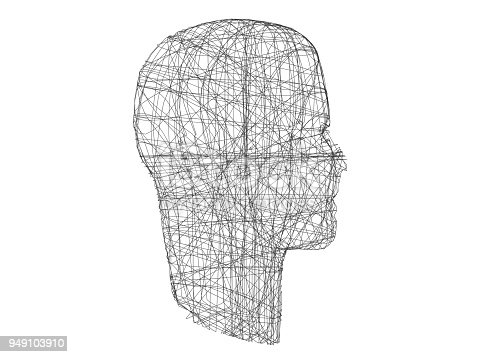istock Human head. Wireframe model with connection lines on white, 3d illustration 949103910