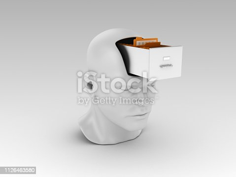 Human Head with Archives - Gray Background - 3D Rendering