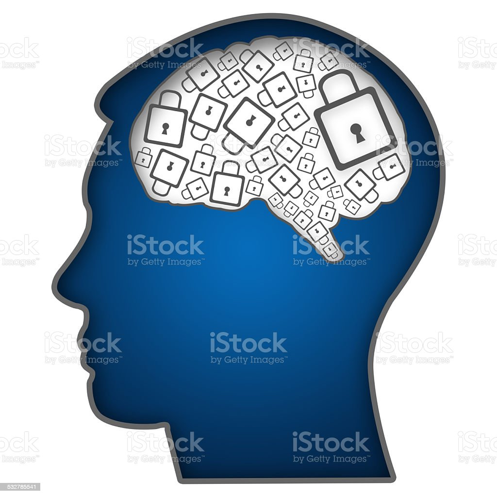 Human Head With Brain Filled With Locks stock photo