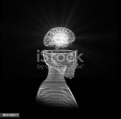 istock Human head with brain. Wireframe model on black, artificial intelligence in futuristic technology concept, 3d illustration 953436072