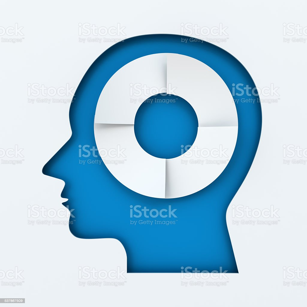 Human head with four steps infographic circle stock photo