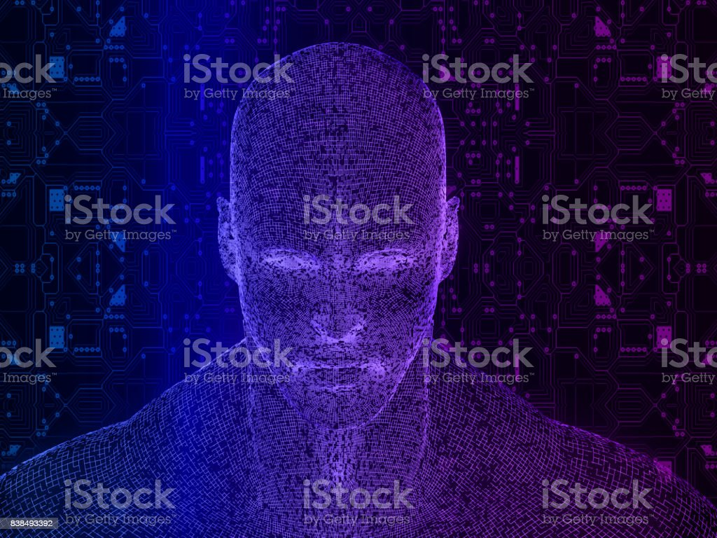 Human head with futuristic elements circuit stock photo