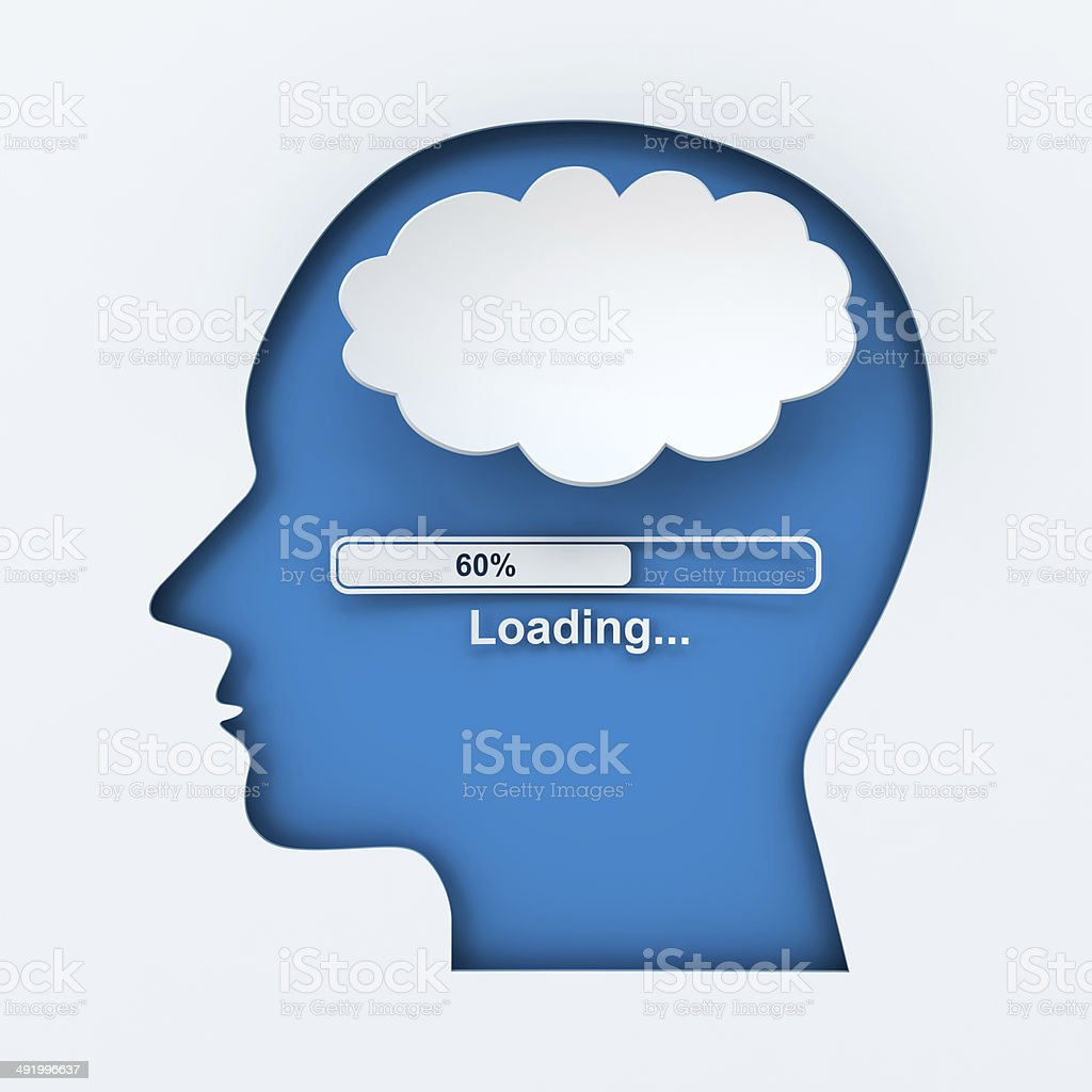 Human head with loading bar and thought bubble with copyspace stock photo