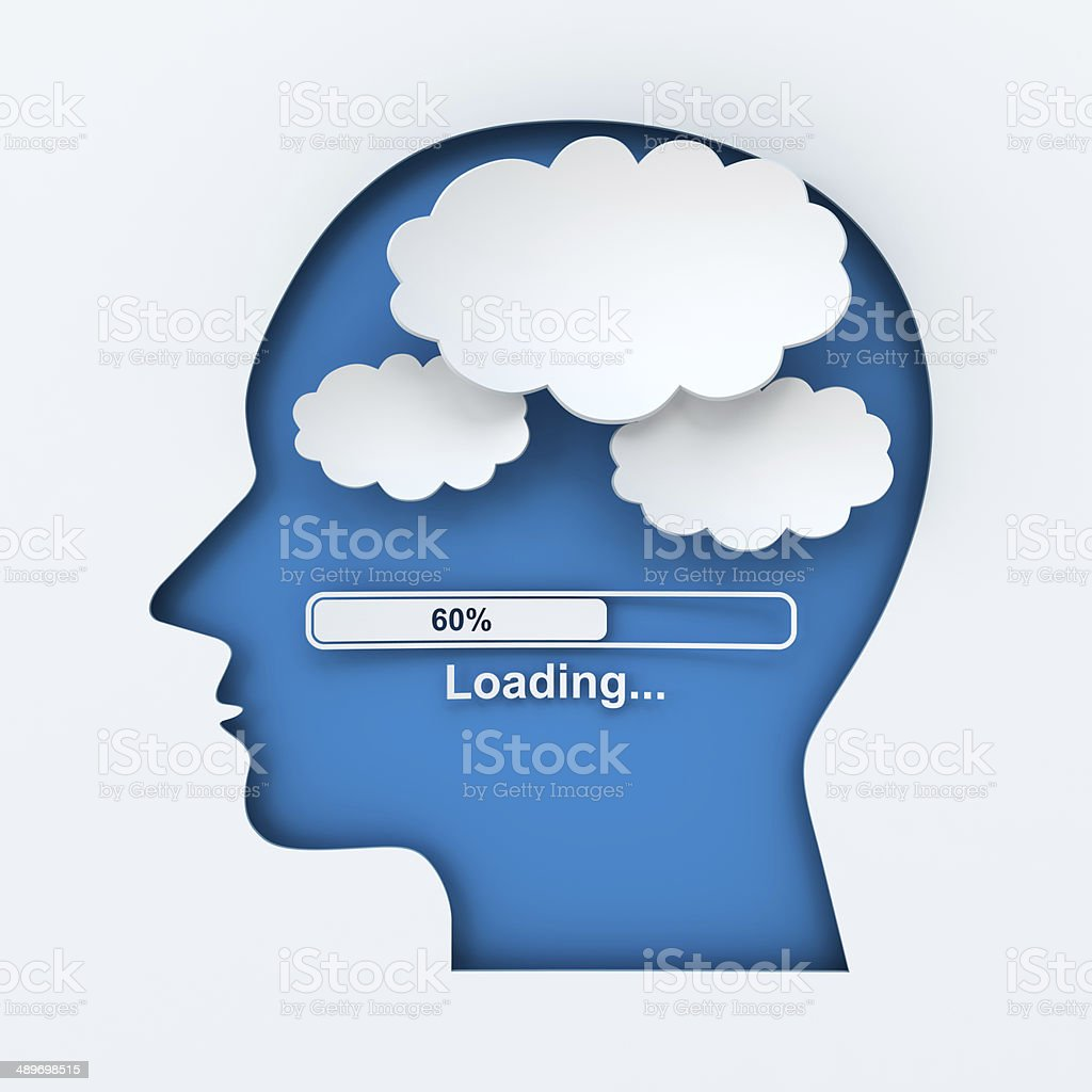 Human head with loading bar and thought bubbles with copyspace stock photo