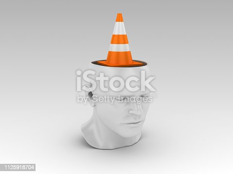 Human Head with Traffic Cone - Gray Background - 3D Rendering