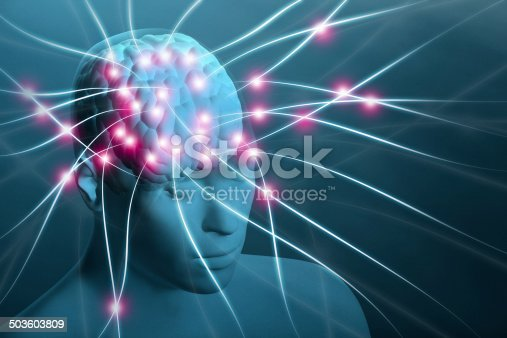 Transparent human head with visible brain and neural nerve connections around it. Telepathy, mind control, soul transfer. Thinking, meditating, contemplating. With copy space.
