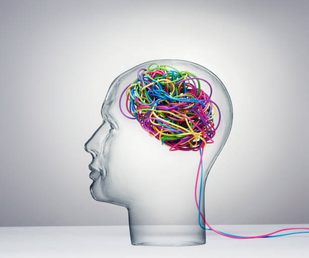 Human Head With Wires stock photo