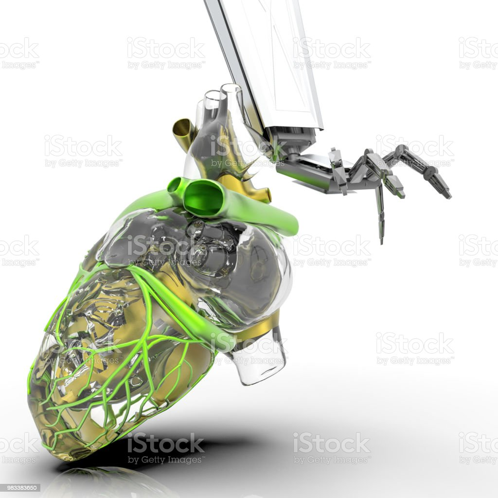 Human Heart 3d Model With A Robot Hand 3d Rendering Stock