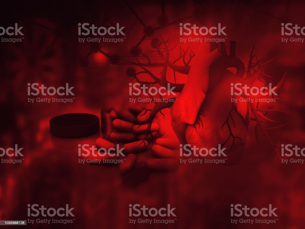 Human heart and modem medicines stock photo