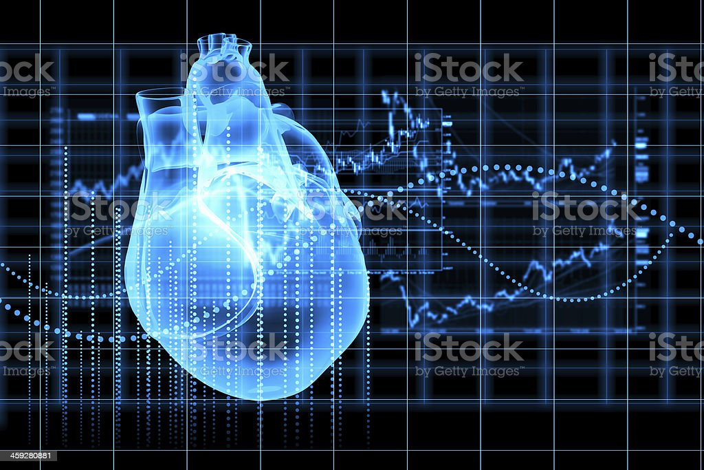 Human heart beats stock photo