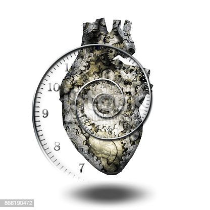 istock Human heart gears and time spirial 866190472