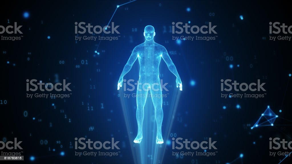 Human hologram from points and polygons in a cloud of binary code and connections 3d illustration stock photo
