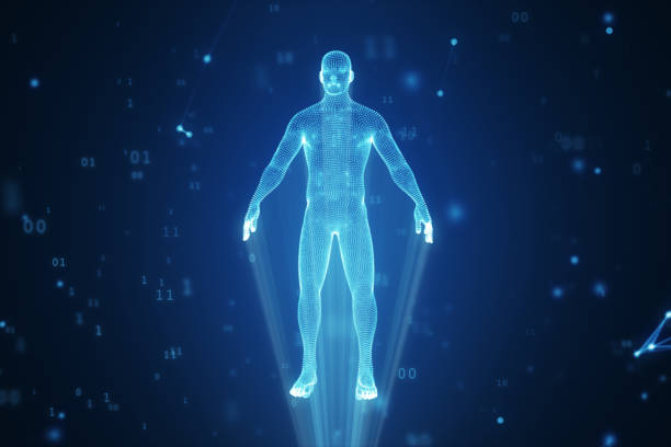 human hologram from points and polygons in a cloud of binary code and connections 3d illustration - hologram stock photos and pictures