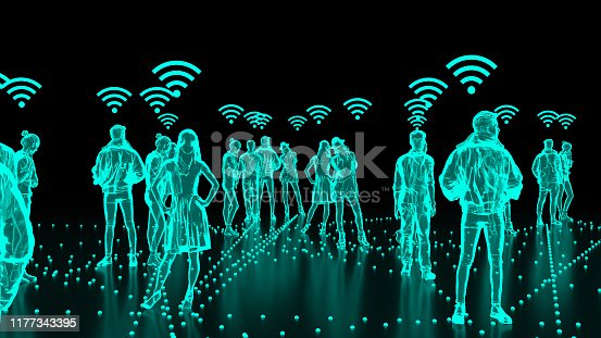 913588258 istock photo Human Hologram of people connected, social networks 1177343395