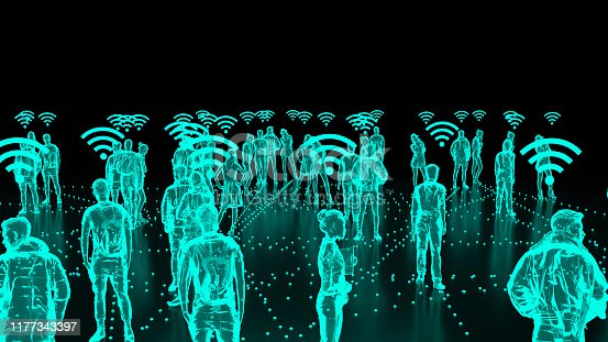 913588258 istock photo Human Hologram of people connected, social networks 1177343397