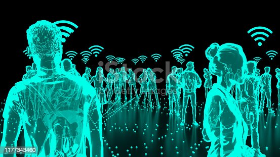 913588258 istock photo Human Hologram of people connected, social networks 1177343460