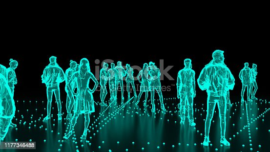 istock Human Hologram of people, crowd 1177346488