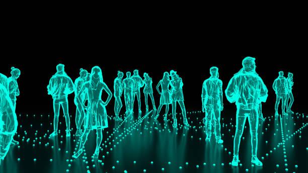 human hologram of people, crowd - business woman hologram imagens e fotografias de stock