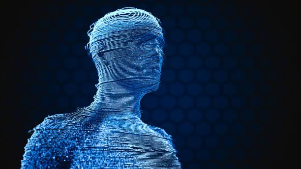 human hologram techology background - hologram imagens e fotografias de stock