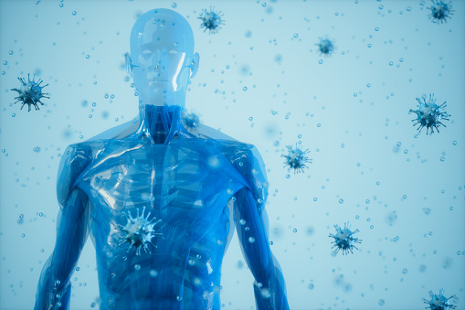 Human Immune System And Virus.The Human Body Surrounded By Viruses On Blue Background