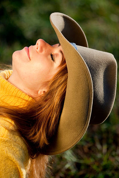 8674ba5466f Human In Nature Cowgirlamptengallon Hat stock photo 121290772