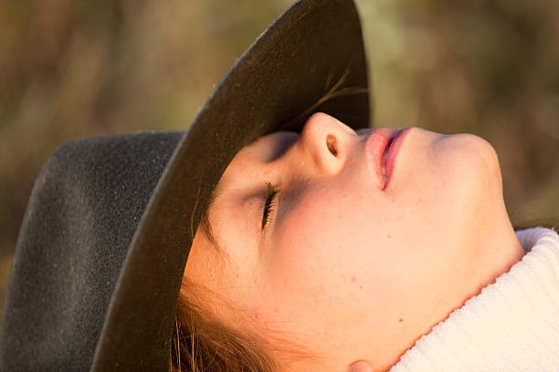 8489f90f401 Human In Nature Cowgirlamptengallon Hat Stock Photo   More Pictures of  20-29 Years