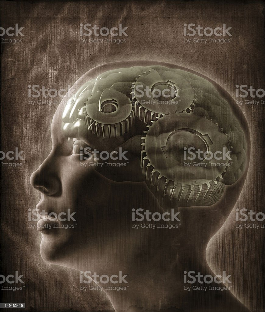 Human intelligence concept A female head with gears overlayed on the brain - Human intelligence concept Adult Stock Photo