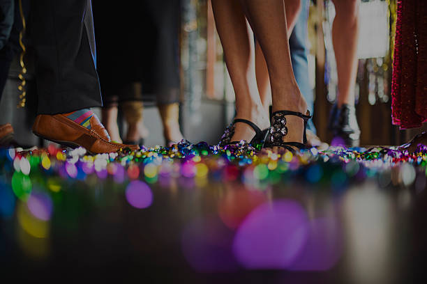 human leg dance hall party recreation concept - dance floor stock photos and pictures