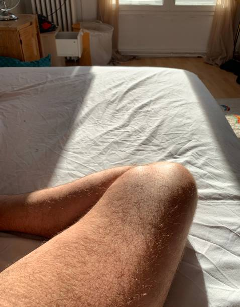 Human leg in the sun. stock photo