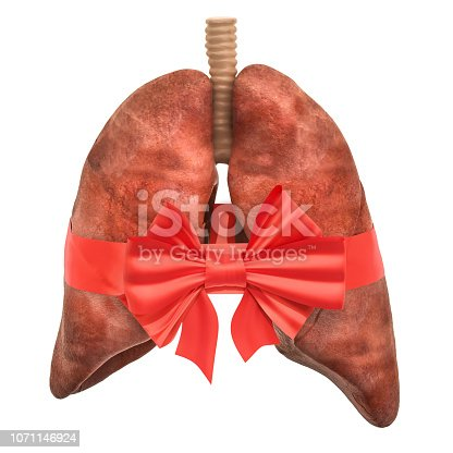 istock Human lungs with bow and ribbon. 3D rendering isolated on white background 1071146924