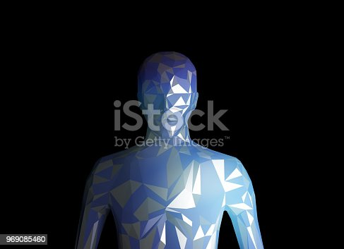 istock Human model on black background in technology concept, artificial intelligence. 3d illustration 969085460