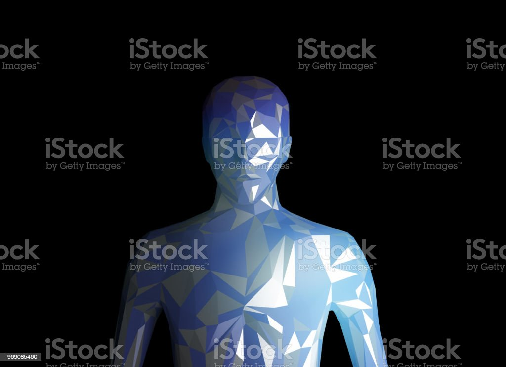 Human model on black background in technology concept, artificial intelligence. 3d illustration stock photo