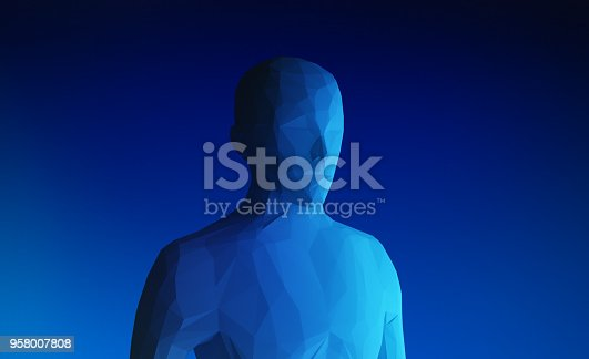 istock Human model on blue background in technology concept, artificial intelligence, 3d illustration 958007808