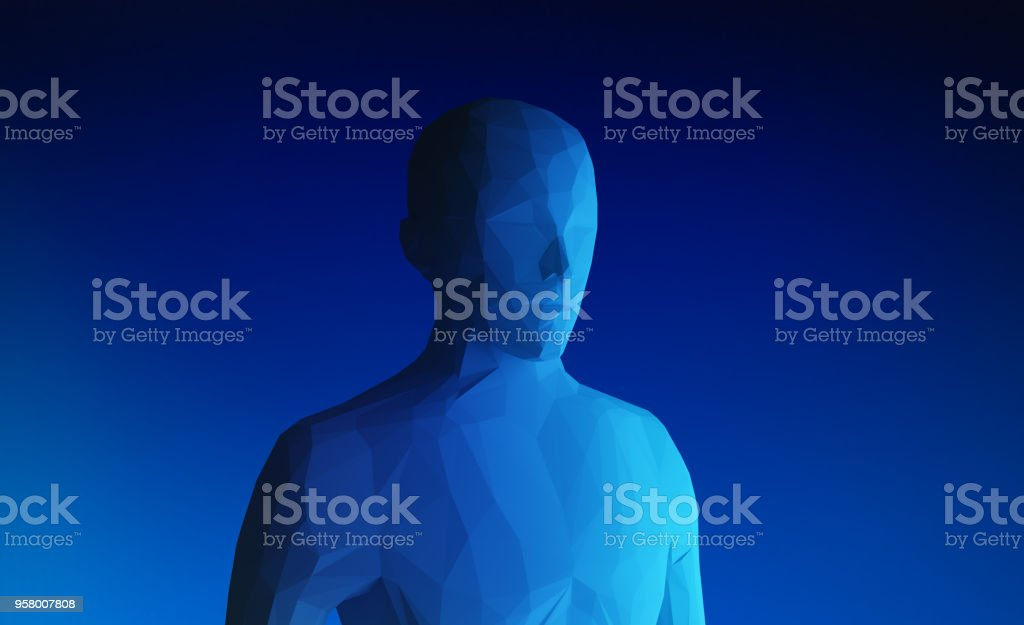 Human model on blue background in technology concept, artificial intelligence, 3d illustration – zdjęcie