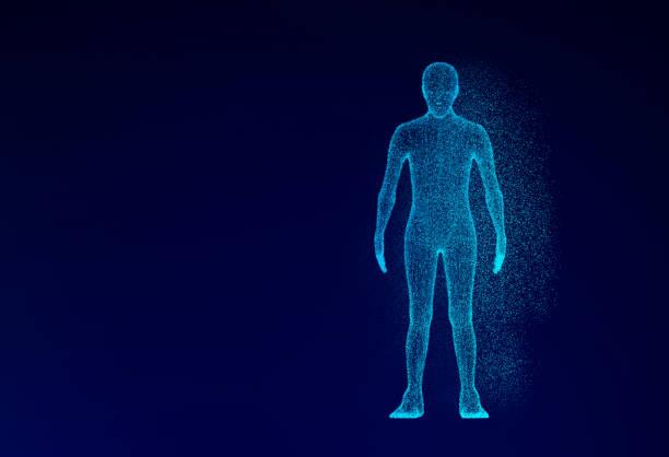 基於藍色背景的人體模型技術概念, 人工智慧。3d 插圖 - 人體 個照片及圖片檔
