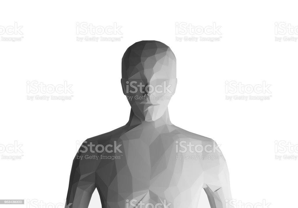 Human model on white background, artificial intelligence, 3d illustration stock photo